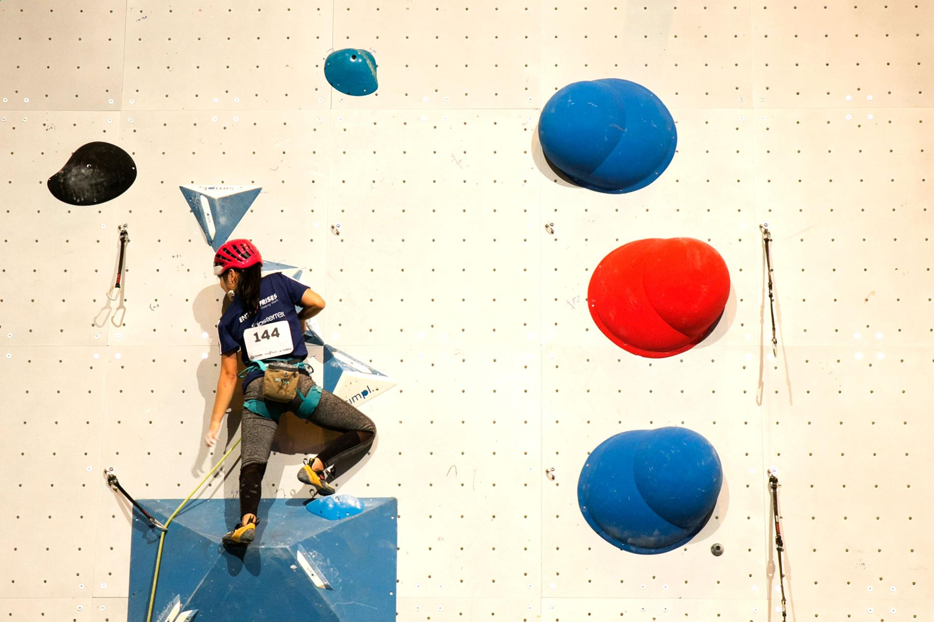 Visitor climbing in Expotural