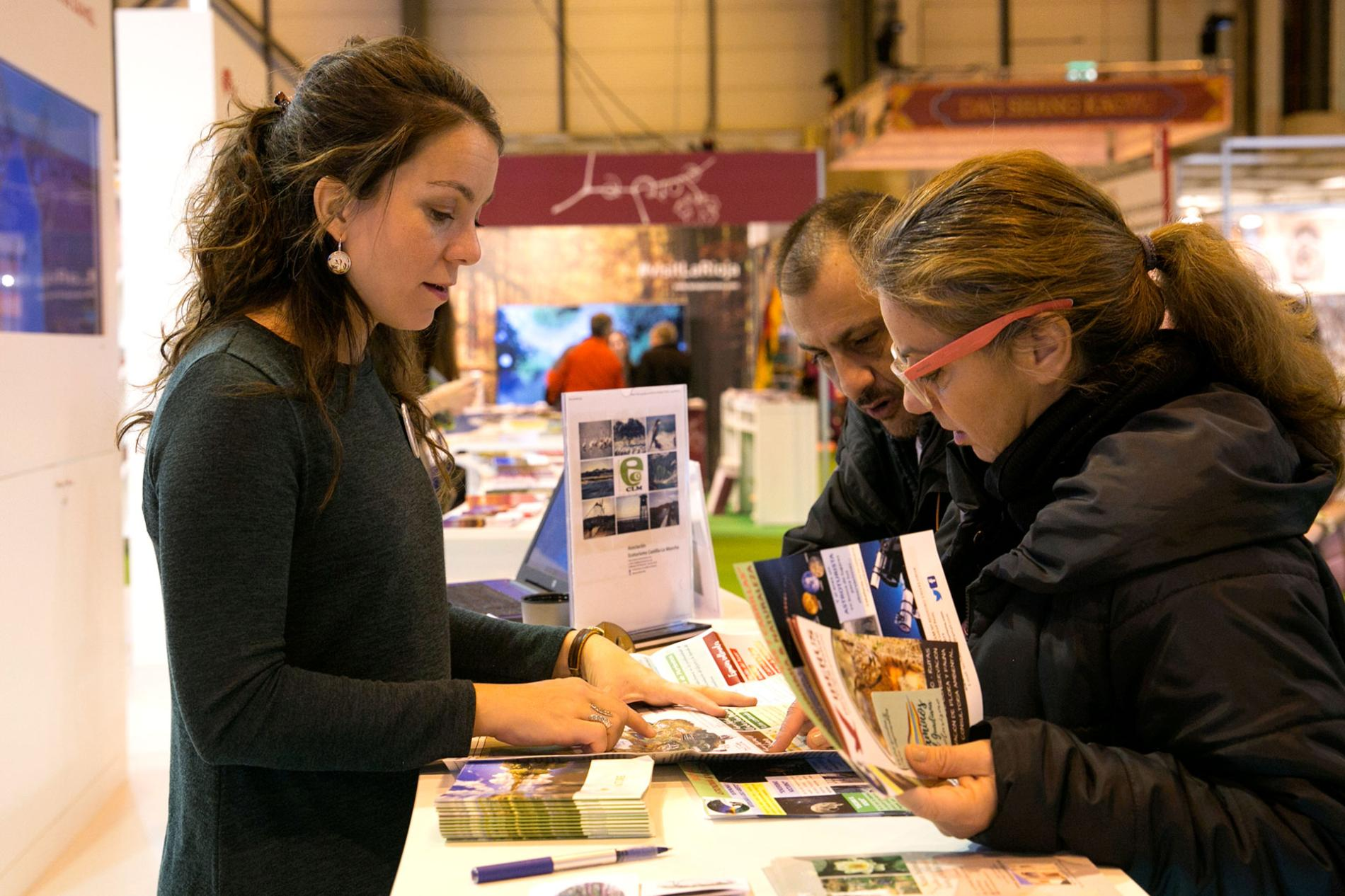 Visitors in the exhibitors area