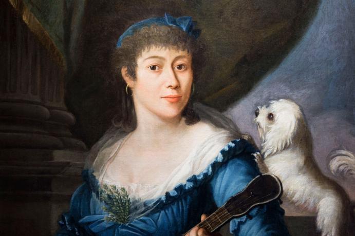 Pintura antigua de mujer con perro
