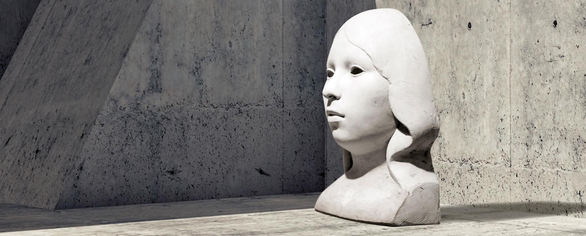 Giant stone bust