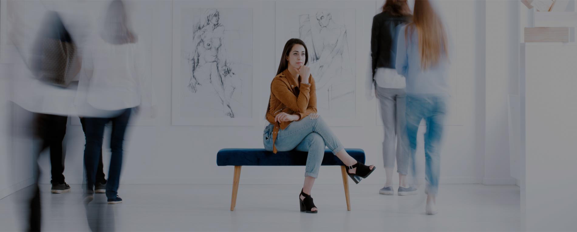 Woman admiring the exhibition
