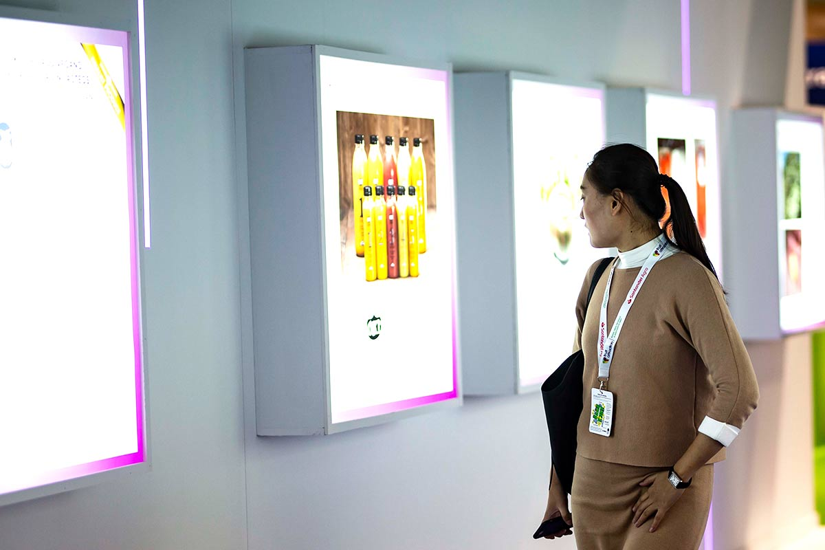 Woman looking at the Innovation Hub gallery