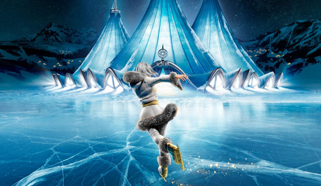 Illustration of an ice skater in icy landscape