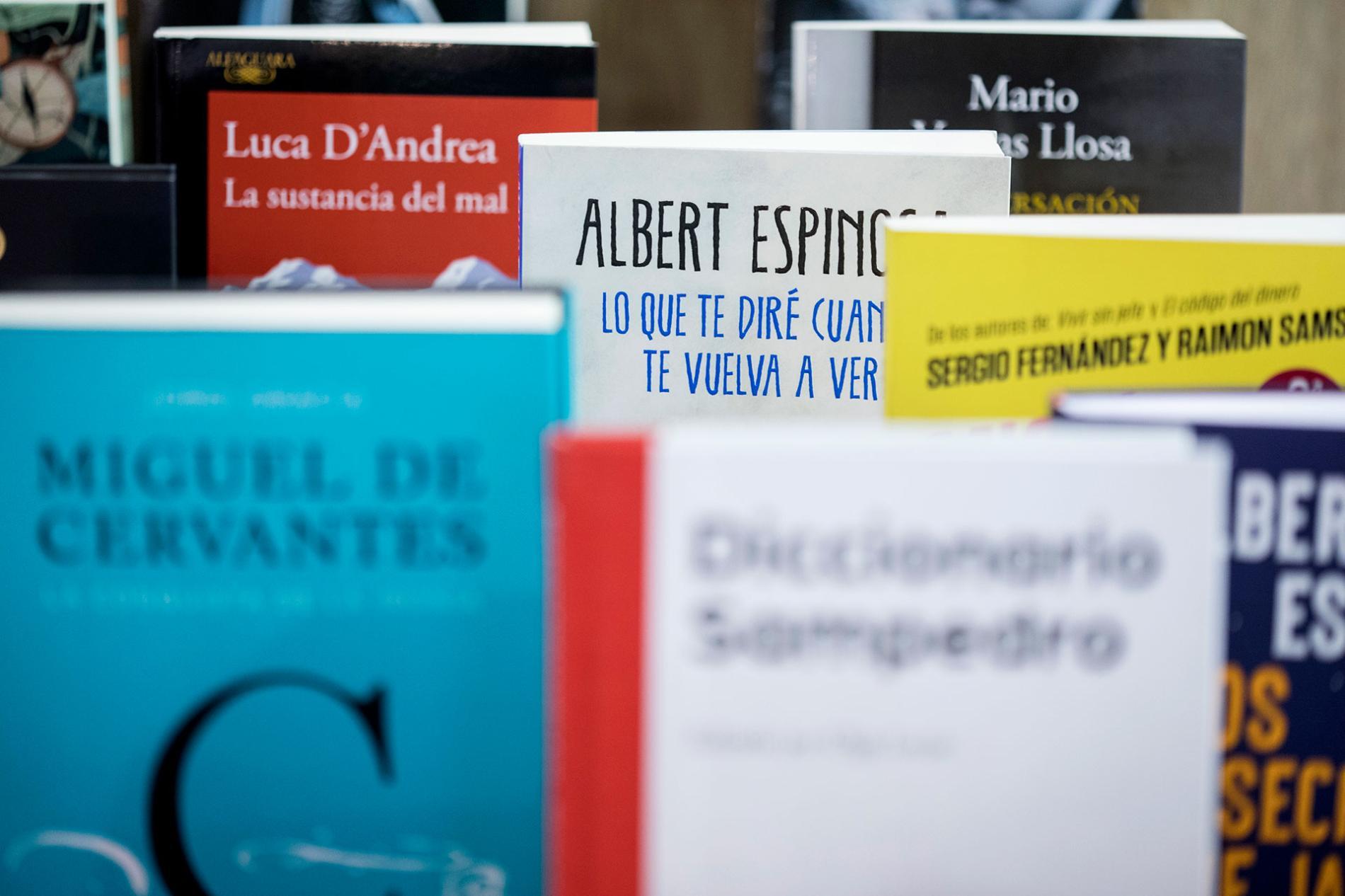 portadas de libros expuestos en liber