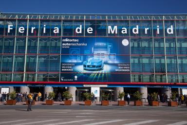 Main entrance to the IFEMA fair with Motortec sign