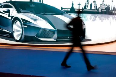 Stand with the drawing of a sports car