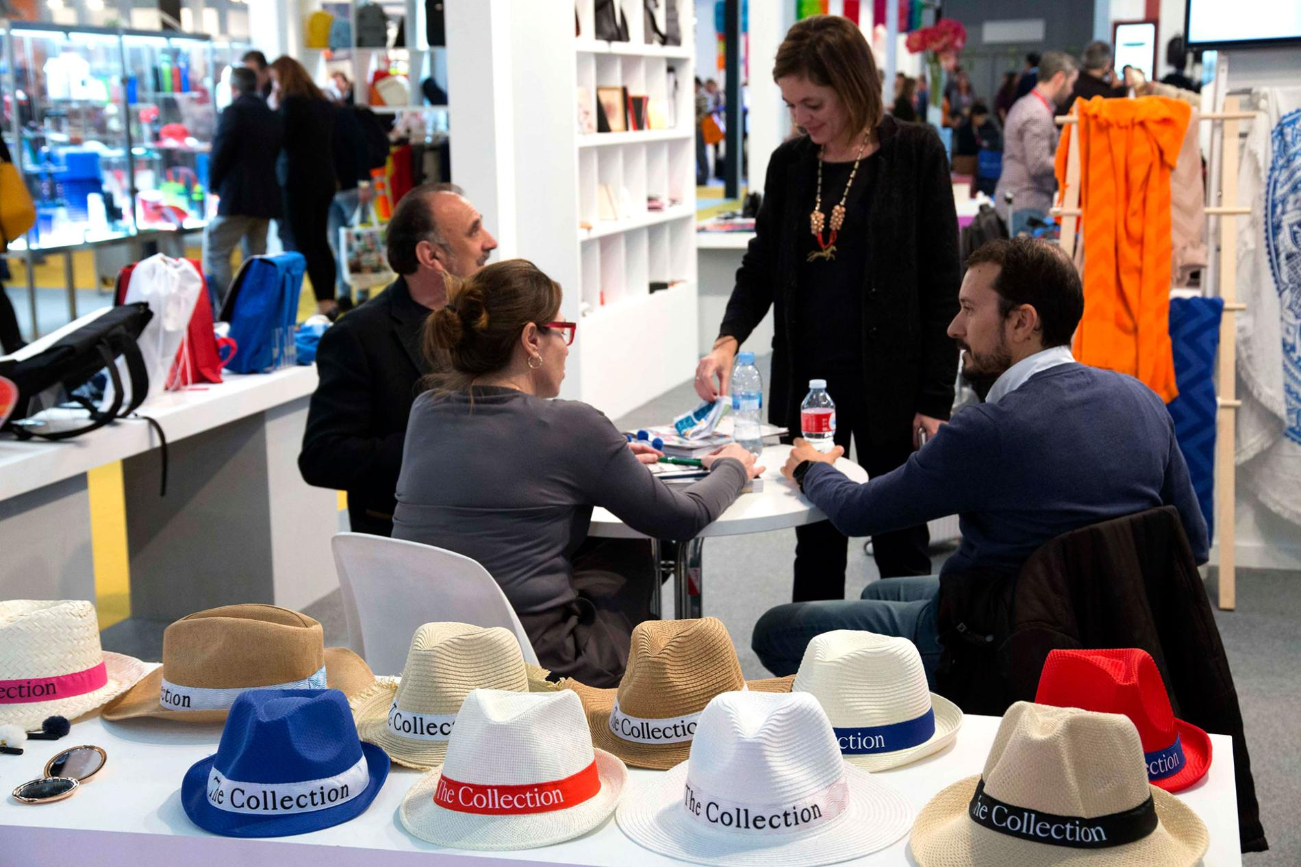 Stand showing samples of hats