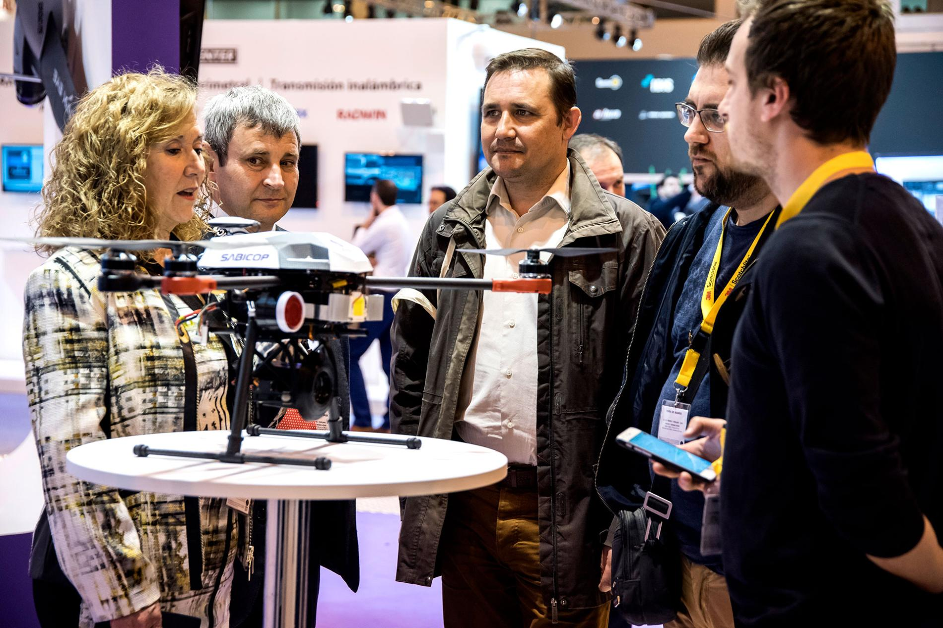 Stand in sicur showing a drone