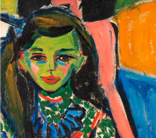 'Fränzi ante una silla tallada' 1910, óleo sobre lienzo de Ernst Ludwig Kirchner